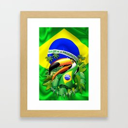 Toco Toucan with Brazil Flag Framed Art Print