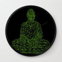 hologram Wall Clocks featuring Triangular Traced Buddha by Makar Deku