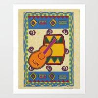 drum Art Prints featuring Drum by Karen Cabral Sullivan Illustration & Des
