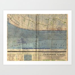 Vintage Utah Beach D-Day Invasion Map (1944) Art Print