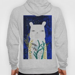polar bear with botanical illustration in blue Hoody
