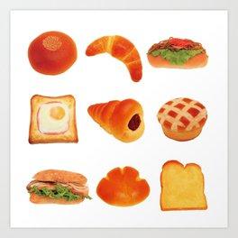 japanese kawaii breads Art Print