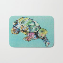 Tortoise on light blue Bath Mat