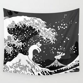 Black and White Psychodelic Kunagawa Surfer Cat Wall Tapestry