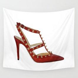 Valentino Rockstud pumps fashion illustration red gold Wall Tapestry