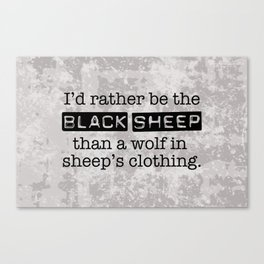 Labeled the Black Sheep Canvas Print