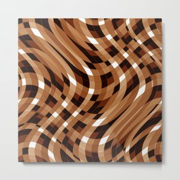 Wavy Lines - Brown and White Plaid Metal Print