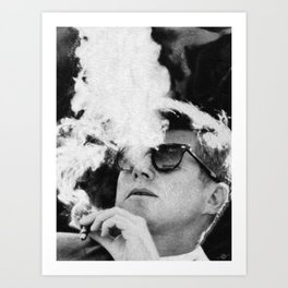 Cigar Smoker Cigar Lover JFK Gifts Black And White Photo Art Print