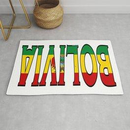Bolivia Font With Bolivian Flag Rug