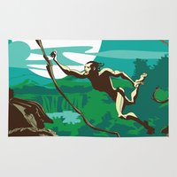 ape Area & Throw Rugs featuring Ape Man by Tony Vazquez