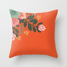 Orange accent pillow with tropical flowers Throw Pillow