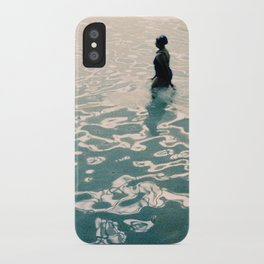Lady in swimming pool iPhone Case