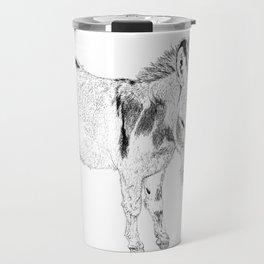 mini donkey drawing, b&w Travel Mug