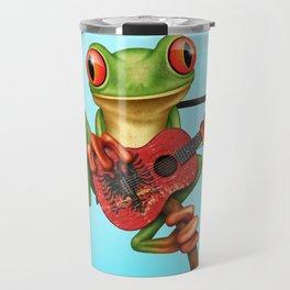 Tree Frog Playing Acoustic Guitar with Flag of Albania Travel Mug