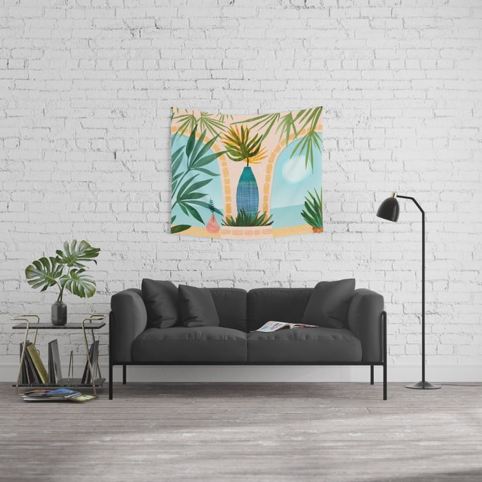 Welcome To The Hotel California / Illustrated Landscape Wall Tapestry