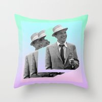 frank sinatra Throw Pillows featuring frank by sebastian kainey