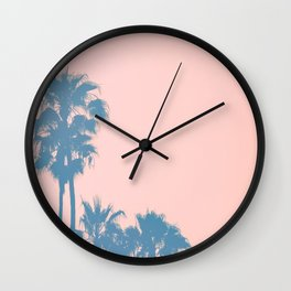 California Sunset Over Hills With Palm Trees in the Foreground.jpg Wall Clock