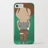 lara croft iPhone & iPod Cases featuring Minimalist lara croft by Monkey graphisme