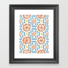 Orange Flower Pattern Framed Art Print