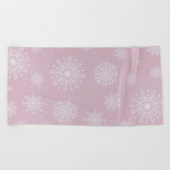 Assorted Snowflakes On Pink Background Beach Towel