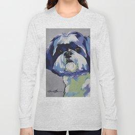 Shih Tzu Pop Art Pet Portrait Long Sleeve T-shirt