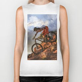 Mountain Bike in Rugged Mountain Terrain in Sunbeams Biker Tank