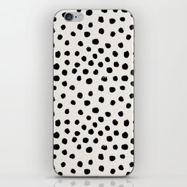 Preppy brushstroke free polka dots black and white spots dots dalmation animal spots design minimal iPhone Skin