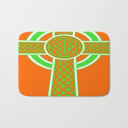 St Patrick's Day Celtic Cross Green and White Bath Mat