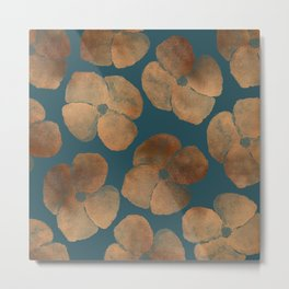 Abstract Metal Copper Flowers on Emerald Metal Print
