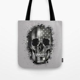 usa black and white skull Tote Bag