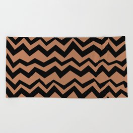 Brown and black zig zag stripes Chocolate Safari decor V-shape pattern Beach Towel