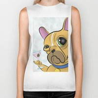 frenchie Biker Tanks featuring Frenchie by Kandus Johnson