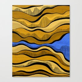 Golden Waves with Interrupting Blue Canvas Print