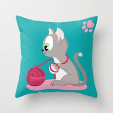 Kitten number 3 of 3 silver cats Throw Pillow
