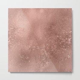Beautiful Modern Rose Gold Square Pattern Metal Print