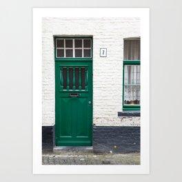 Green Door, Bruges Art Print