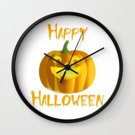 Happy Halloween Jack-o-Lantern Pumpkin Shirt Wall Clock