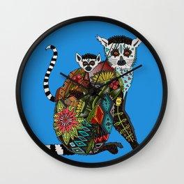 ring tailed lemur love blue Wall Clock