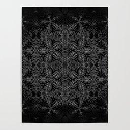 Black Slate Gray Floral Pattern Poster