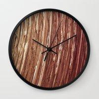 tree rings Wall Clocks featuring Rings by Kathy Dewar
