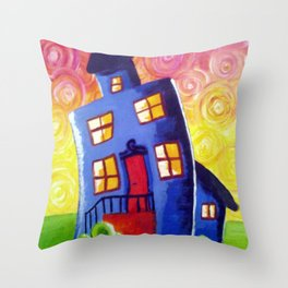 Happy House Throw Pillow