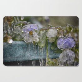 Pansies on Ice Cutting Board