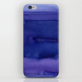 Blue Violet Watercolor Horizontal Stripes Abstract iPhone Skin
