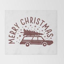 Merry Christmas Station Wagon Throw Blanket