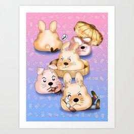 Revenge of the dim sum bunny buns Art Print