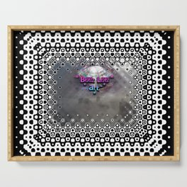 """Beez Lee Art : Foggy Square Point of View"" Serving Tray"