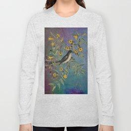 Flycatcher with Carolina Jasmine, Vintage Natural History and Botanical Long Sleeve T-shirt