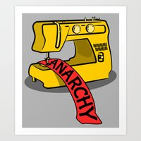 sewing Art Prints featuring Anarchy Sewing Machine by mailboxdisco