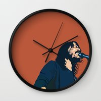 dave grohl Wall Clocks featuring Dave Grohl by Gnottingham