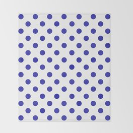 Polka Dots (Navy & White Pattern) Throw Blanket